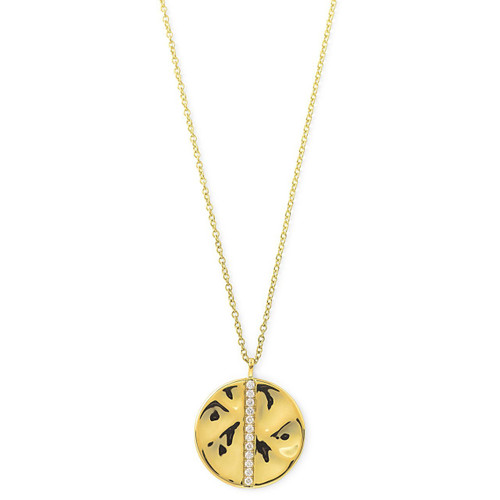Large Disc Pendant Necklace in 18K Gold with Diamonds GN1002DIA