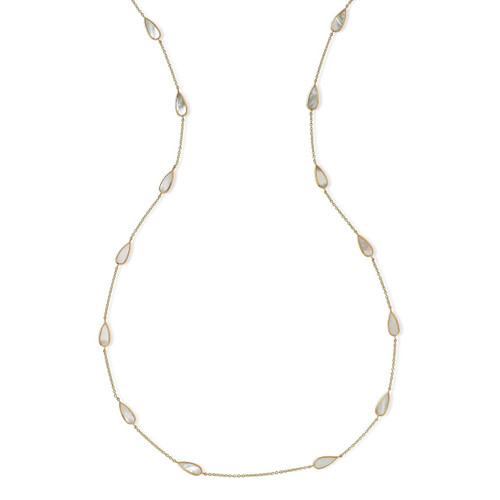 Pear Station Necklace in 18K Gold GN1022MOP