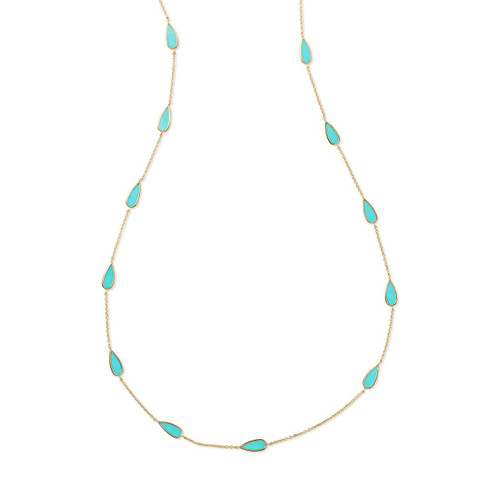 Pear Station Necklace in 18K Gold GN1022TQ