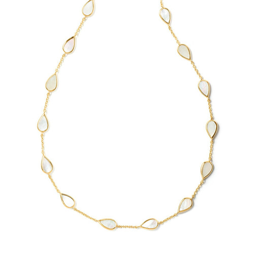Pear Multi Station Necklace in 18K Gold GN1033MOP
