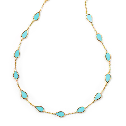Pear Multi Station Necklace in 18K Gold GN1033TQ