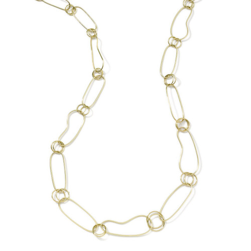 Long Kidney Chain Necklace in 18K Gold GN119