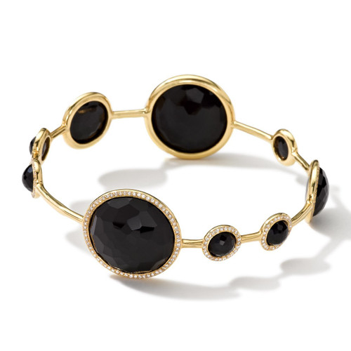 Stone Bangle in 18K Gold with Diamonds GB193NXDIA-PA