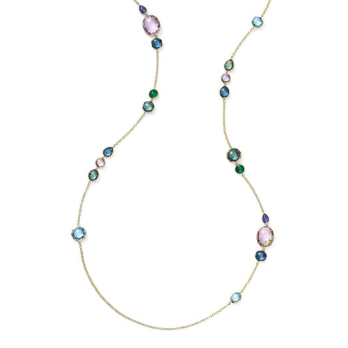 Long Station Necklace in 18K Gold GN1393HOLOGEM