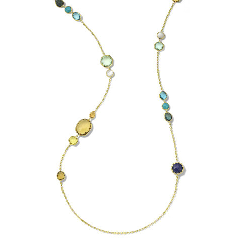 Long Station Necklace in 18K Gold GN1393OASIS