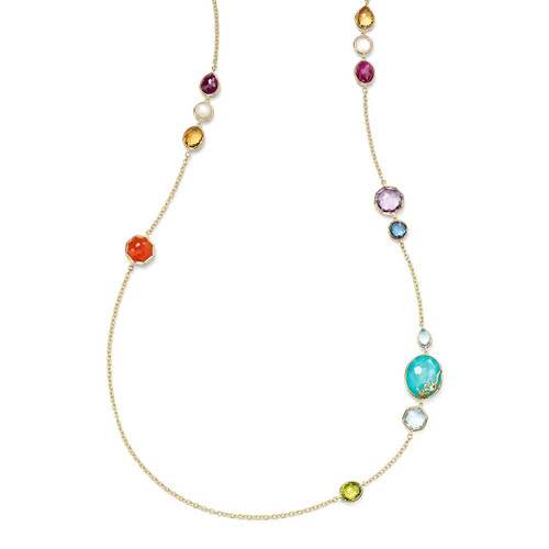 Long Station Necklace  in 18K Gold GN1393RAINBOW