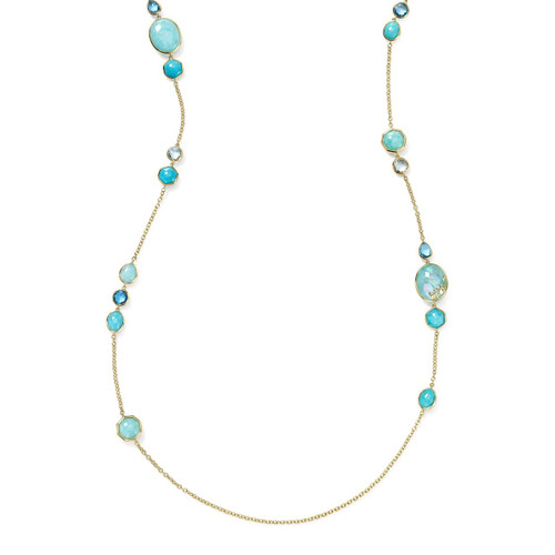 Long Station Necklace in 18K Gold GN1393WATERFALL