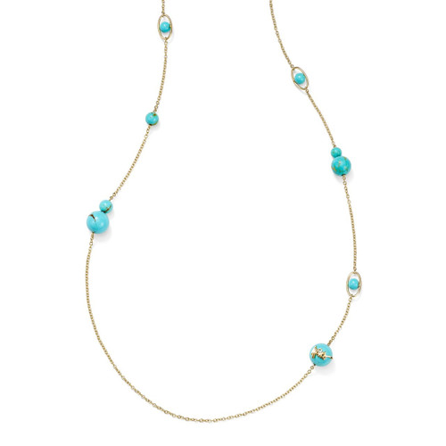 10-Station Long Necklace in 18K Gold GN1408TQGM