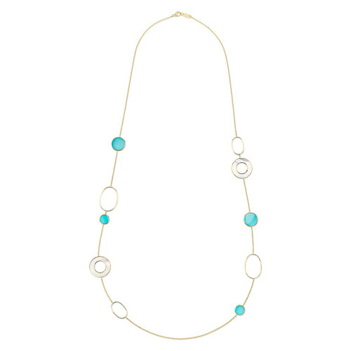 Mixed Link & Slice Necklace in 18K Gold GN1473MOPTQ