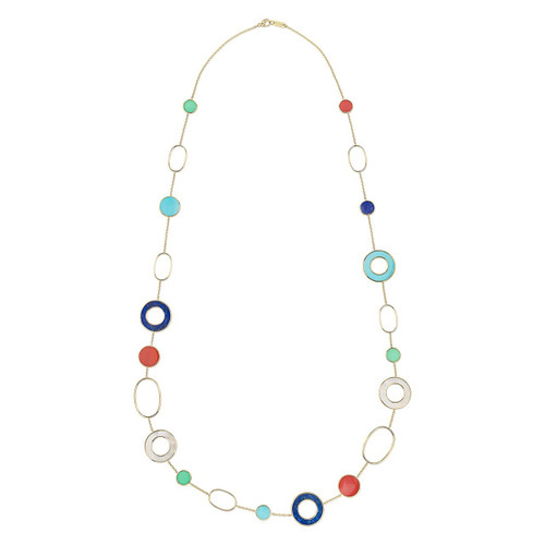 Mixed Link & Slice Necklace in 18K Gold GN1474RIV