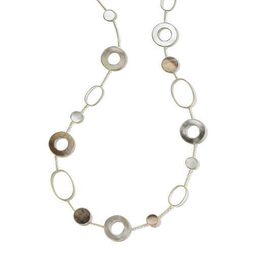 Mixed Link & Slice Necklace in 18K Gold GN1474SABBIA