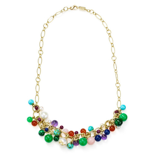Cluster Bead Necklace in 18K Gold GN1479RIV