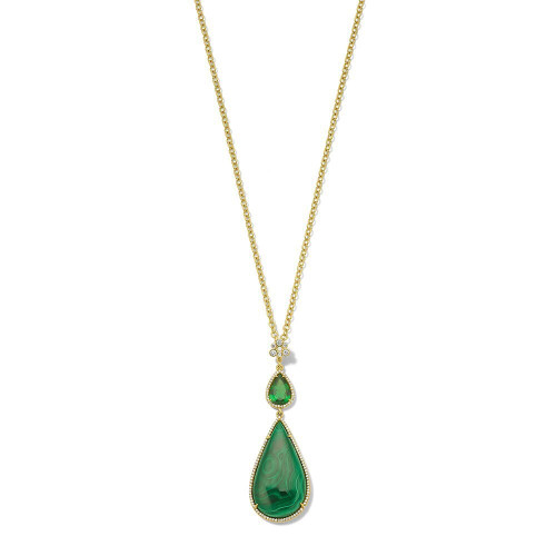 Teardrop Pendant Necklace in 18K Gold with Diamonds GN1502TSVMLCDIA