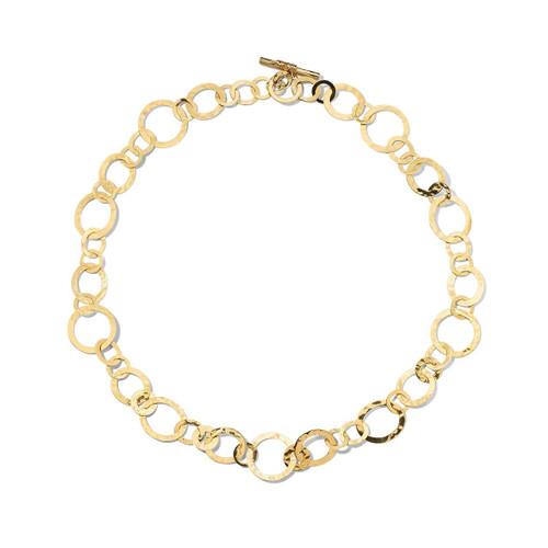 Short Crinkle Medium Link Necklace in 18K Gold GN1512