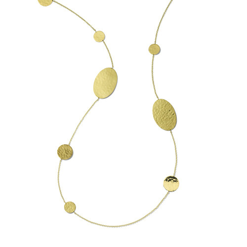 Crinkle Hammered Oval & Circles Necklace in 18K Gold GN1552