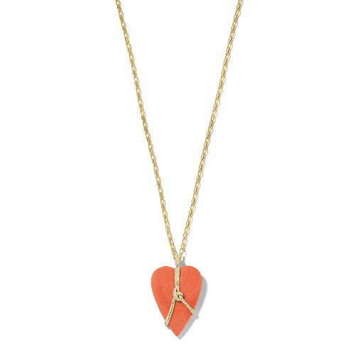 Heart-shaped Stone Necklace in 18K Gold with Diamonds GN1564CODIA