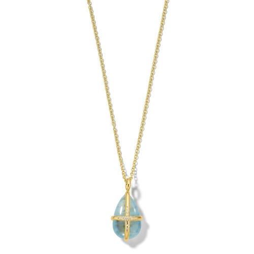Drop Shape Pendant Necklace in 18K Gold GN1574AQDIA