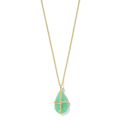 Drop Shape Pendant Necklace in 18K Gold GN1575CHPDIA