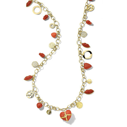 Multi Charm Necklace in 18K Gold with Diamonds GN1606CODIA