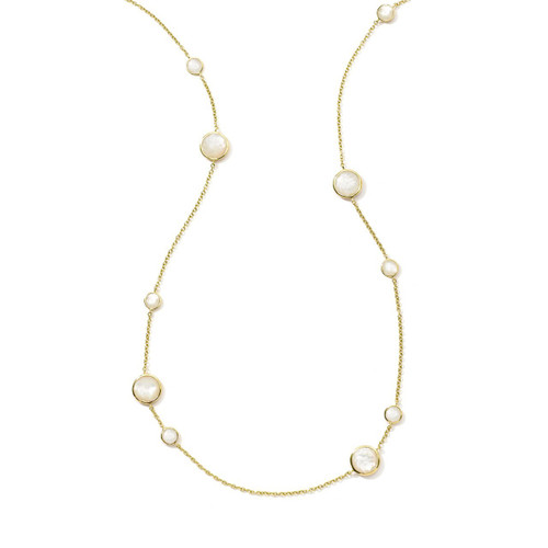 Long Station Necklace in 18K Gold GN171MOP
