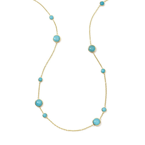 Long Station Necklace in 18K Gold GN171TQ