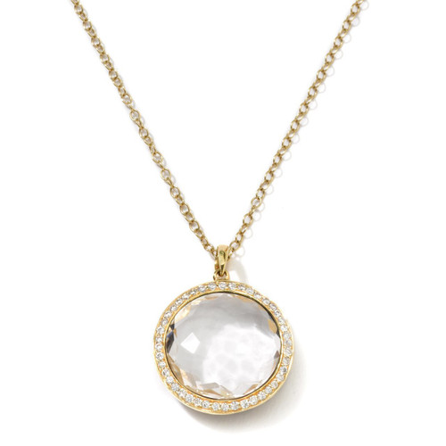 Medium Pendant Necklace in 18K Gold with Diamonds GN197CQDIA