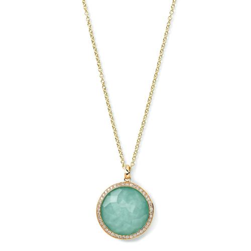 Medium Pendant Necklace in 18K Gold with Diamonds GN197DFTQDIA