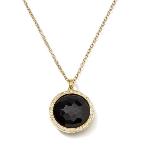 Medium Pendant Necklace in 18K Gold with Diamonds GN197NXDIA