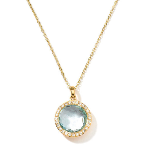 Small Pendant Necklace in 18K Gold with Diamonds GN266BTDIA