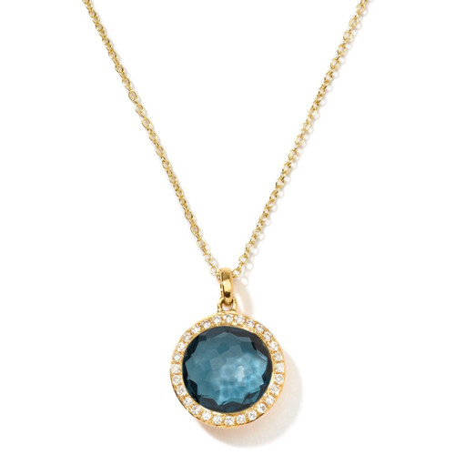 Small Pendant Necklace in 18K Gold with Diamonds GN266LBTDIA