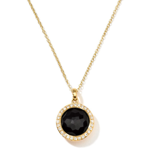 Small Pendant Necklace in 18K Gold with Diamonds GN266NXDIA