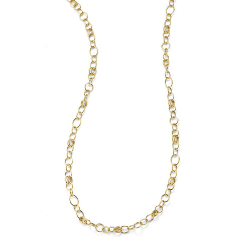 Long Smooth Chain Necklace in 18K Gold GN340