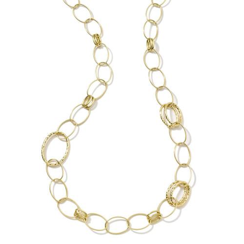 Long Hammered Bastille Link Chain Necklace in 18K Gold GN341