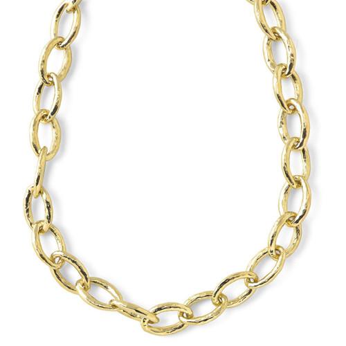 Short Hammered Bastille Mini Link Necklace in 18K Gold GN350