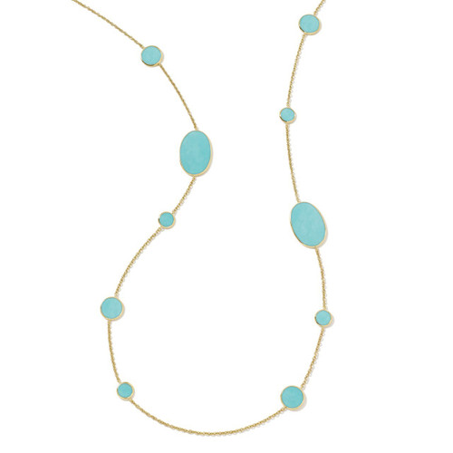Multi Shape Necklace in 18K Gold GN413TQSL