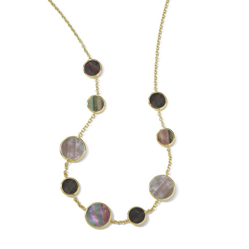 Multi Stone Necklace in 18K Gold GN418BKLSL