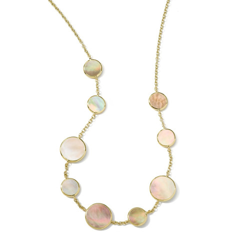 Multi Stone Necklace in 18K Gold GN418BRLSL