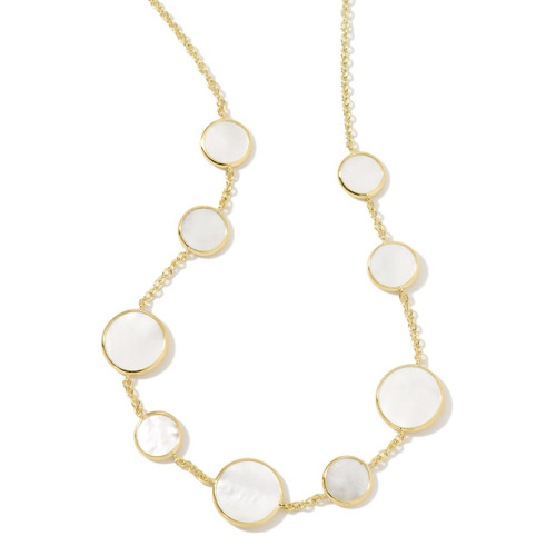 Multi Stone Necklace in 18K Gold GN418MOPSL