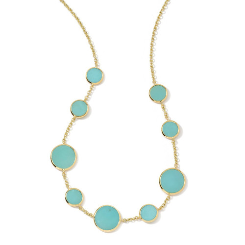Multi Stone Necklace in 18K Gold GN418TQSL