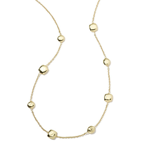 Short Hammered Pinball Chain Necklace in 18K Gold GN500