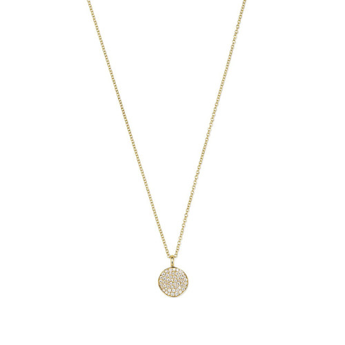Small Flower Pendant Necklace in 18K Gold with Diamonds GN586DIA