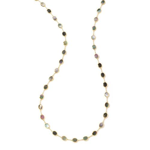 Confetti Multi Stone Necklace in 18K Gold GN616BKLSL