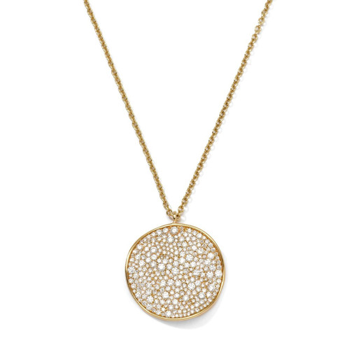 Large Flower Pendant Necklace in 18K Gold With Diamonds GN632DIA