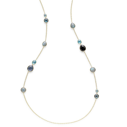 Mixed Stone Long Necklace in 18K Gold GN979MIDRAIN
