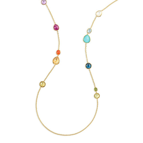 Mixed Stone Long Necklace in 18K Gold GN979SUMRAIN