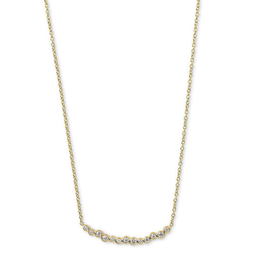 Starlet Smile Bar Necklace in 18K Gold with Diamonds GN981DIA