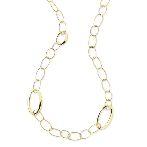 Long Mixed Link Necklace in 18K Gold GN987