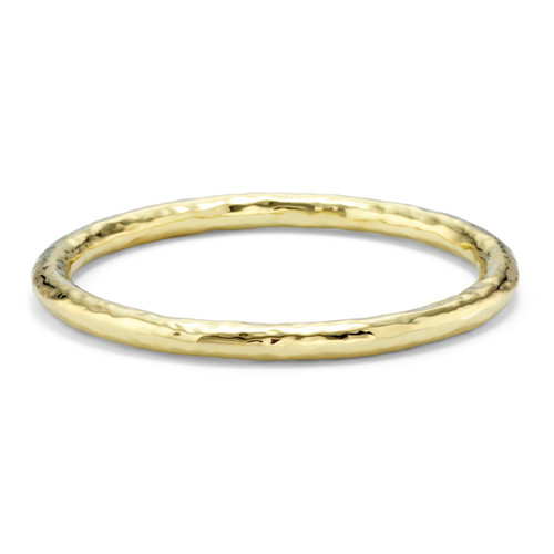 Large Hammered Bangle in 18K Gold GB241