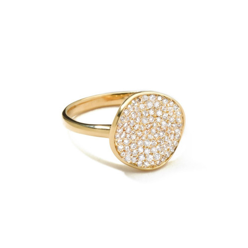 Small Flower Ring in 18K Gold with Diamonds GR283DIA