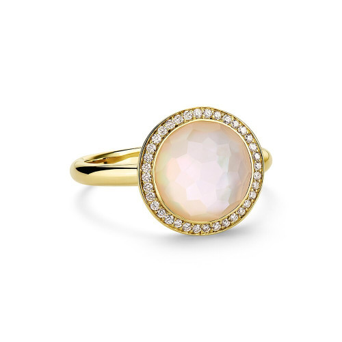 Small Ring in 18K Gold with Diamonds GR342DFMOPDIA